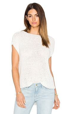 Diagonal Stitch Pullover Top in Ecru