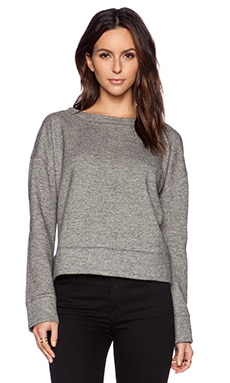 ATM Anthony Thomas Melillo Scoop Neck Oversized Fleece Sweatshirt in Charcoal Heather