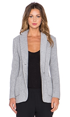 ATM Anthony Thomas Melillo Wool Shearling Knit Blazer in Heather Grey