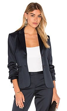 Stretch Satin Blazer in Midnight