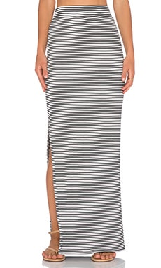 ATM Anthony Thomas Melillo Striped Side Slit Maxi Skirt in Black & Snow Stripe Combo