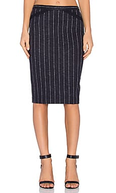 ATM Anthony Thomas Melillo Striped Pencil Skirt in Navy Stripe Combo