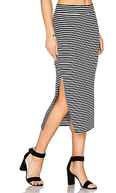 Striped Rib Skirt in Black & White Stripe