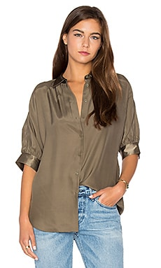 Dolman Silk Blouse in Army