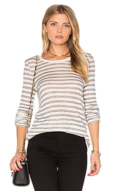 Jersey Crew Neck Stripe Tee in Oatmeal & Grey