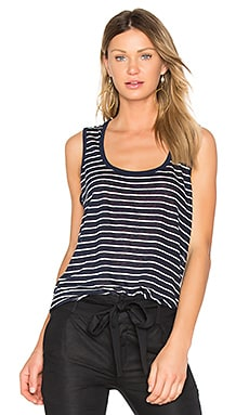 Sweetheart Linen Jersey Tank in Midnight & White Stripe