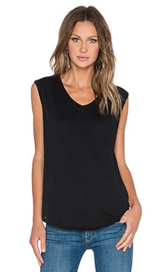 Vintage Jersey Deep V Tank Top in Black