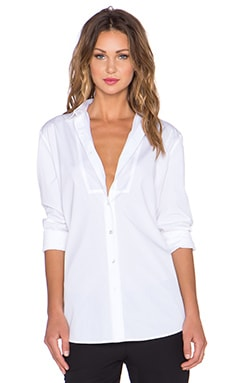 ATM Anthony Thomas Melillo Bib Yoke Boyfriend Button Up in White