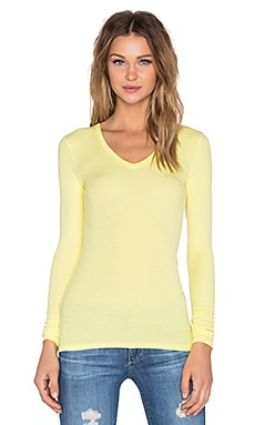 Rib V Neck Long Sleeve Tee in Yellow