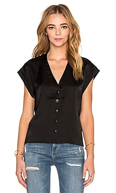 ATM Anthony Thomas Melillo V Neck Top in Black
