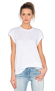 ATM Anthony Thomas Melillo Mixed Media Extended Shoulder Top in White