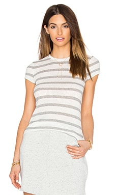 Striped Cap Sleeve Tee en Gris Chiné & Écru