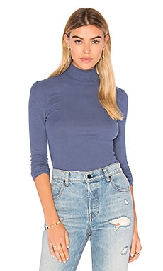 Long Sleeve Micro Modal Mock Neck Top in Blue