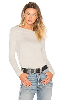 Long Sleeve Boat Neck Tee in Heather Oatmeal