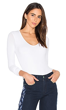V Neck Bodysuit in Weiß