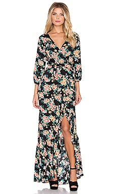 AUGUSTE Wandering Willow Wrap Maxi Dress in Black Boho Blooms Floral