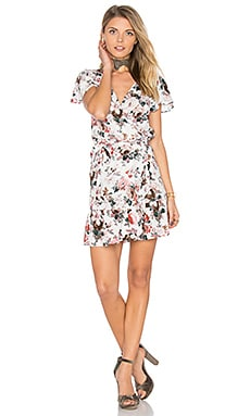 Frill Wrap Mini Dress in Dusky Blooms Natural