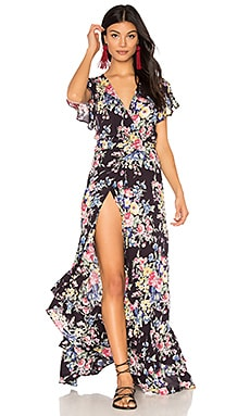 Beach House Frill Wrap Dress in Bambi Bloom Black