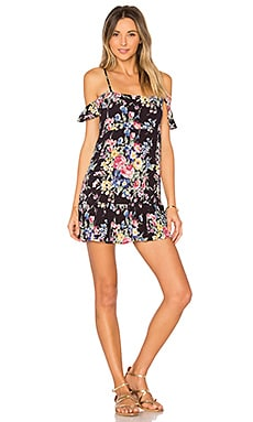 Beach House Strappy Mini Dress en Bambi Bloom Black