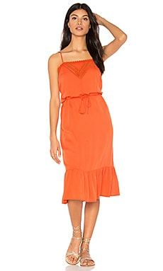 Victorian Slip Midi Dress in Burnt Orange