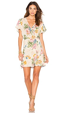 Delilah Frill Wrap Mini Dress in Delilah Bloom Natural