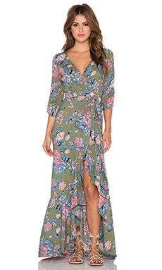 Willow Wrap Maxi Dress en Kaki Magnolia