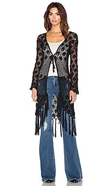 AUGUSTE Crochet Tassel Cardigan in Black