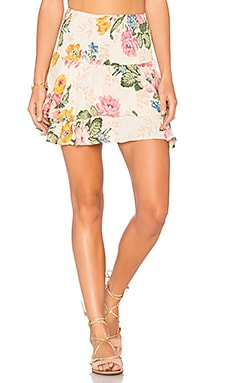 Shirred Mini Skirt in Delilah Bloom Natural