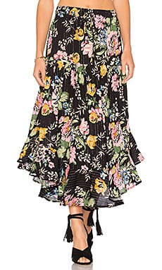Delilah Frilled Midi Skirt in Delilah Bloom Black