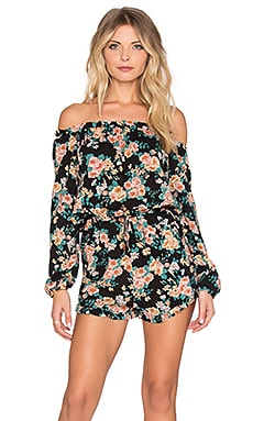 AUGUSTE Gypsy Romper in Black Boho Blooms Floral