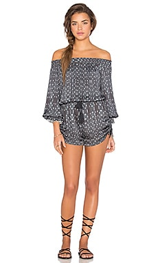 Boheme Sleeved Romper in Gypset Blues
