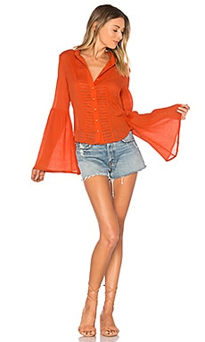 Old Days Bell Sleeved Shirt en Orange brûlée