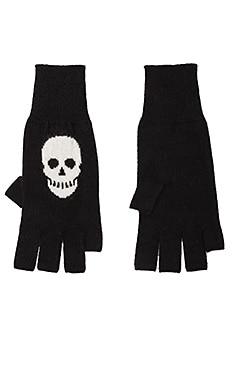 Autumn Cashmere Skull Fingerless Gloves in Black/Winter White