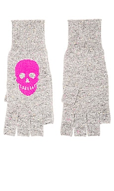 Autumn Cashmere Skull Fingerless Gloves in Festival & Barbie