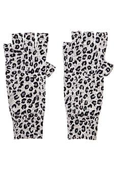 Autumn Cashmere Leopard Print Fingerless Gloves in Sweatshirt Combo