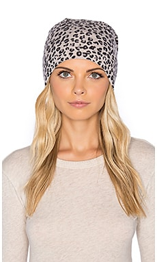 Autumn Cashmere Leopard Print Hat in Bone Combo