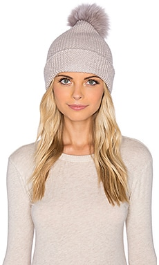 Autumn Cashmere Faux Fur Pom Pom Beanie in Bone