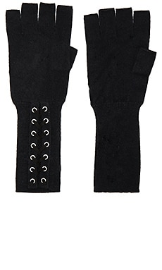 Lace Up Fingerless Gloves en Noir