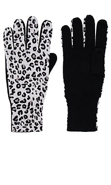 Leopard Gloves in Frost & Black