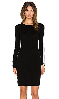 Autumn Cashmere Ribbed Racing Stripe Dress in Black & Chalk
