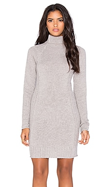 Autumn Cashmere Ribbed Funnel Neck Dress in Putty