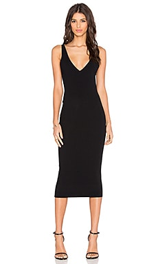 Double V Bodycon Dress in Black