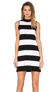 Mock Neck Stripe Dress in Black, Bleach White & Infantry