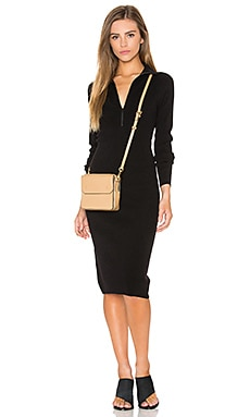 Zip Mock Neck Sweater Dress in Black