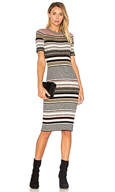 Ribbed Stripe Dress in Black & Cognac Combo