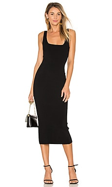 Midi Square Neck Dress in Black