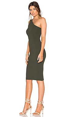 One Shoulder Dress in Olive Drab