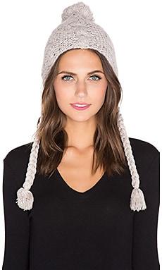 Autumn Cashmere Cable Flap Hat in Pebble