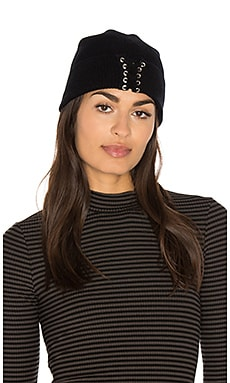 Lace Up Beanie in Black