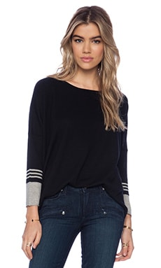 Autumn Cashmere Boxy Striped Sleeve Sweater in Black & Steel